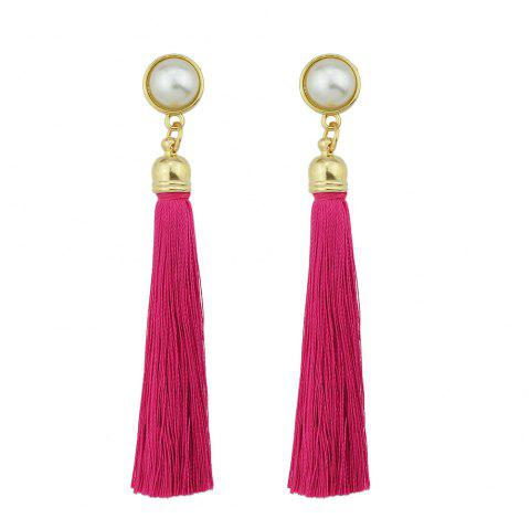 Gold-Color with Simulated-pearl Colorful Tassel Dangle Earring - ROSE RED