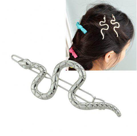 Gold Silver Color with Rhinestone Snake Hairgrip - SILVER