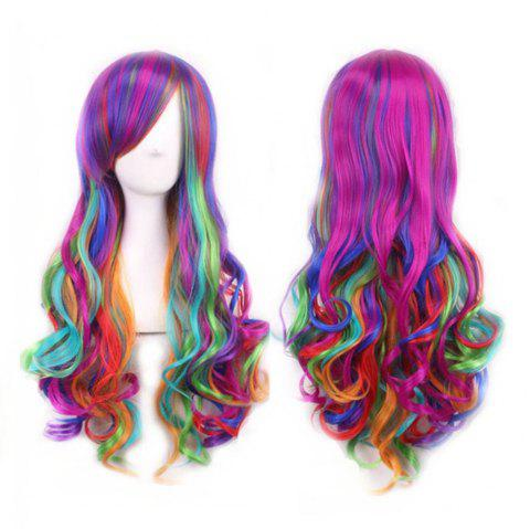 Long Roll Role Playing Ball Wig - multicolor B 1PC