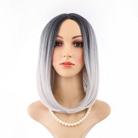 Medium Black Gradient White Star Wig - multicolor 1PC