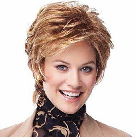 Lady White Short Curly Hair Fluffy Face Wig - BLONDE 1PC