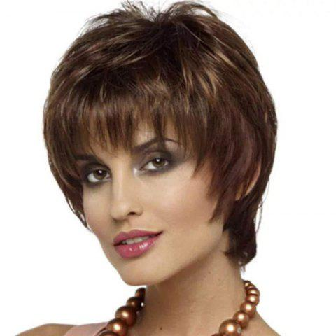 Short Straight Hair Fluffy Face Coloring Gradient Wig - multicolor 1PC