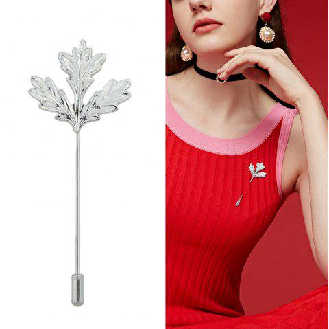 Gold Silver Color Long Chain with Leaf Shape Brooch - SILVER