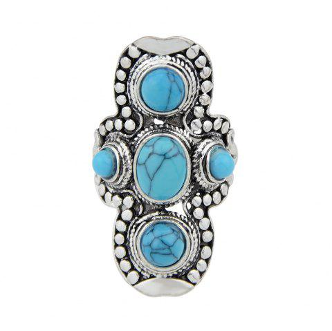 Silver Color with Colorful Stone Round Rings - DENIM BLUE US 7