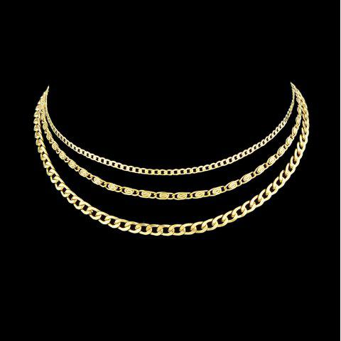 Gold-Color Multi Layer Chain Choker Necklace - GOLD
