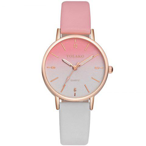 New Fashion Ladies Simple Leather Strap with Gradient Surface Quartz Watch - PINK