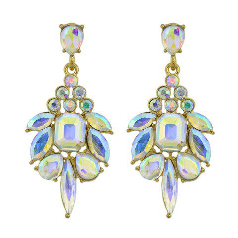 Gold-Color With Rhinestone Crystal Drop Earrings - WHITE