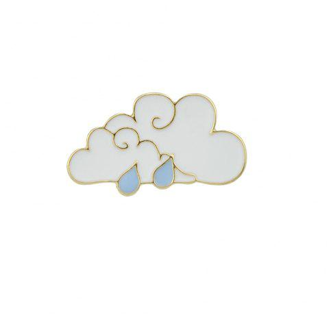 Gold-Color White Blue Cloud Water Drop Brooch - WHITE