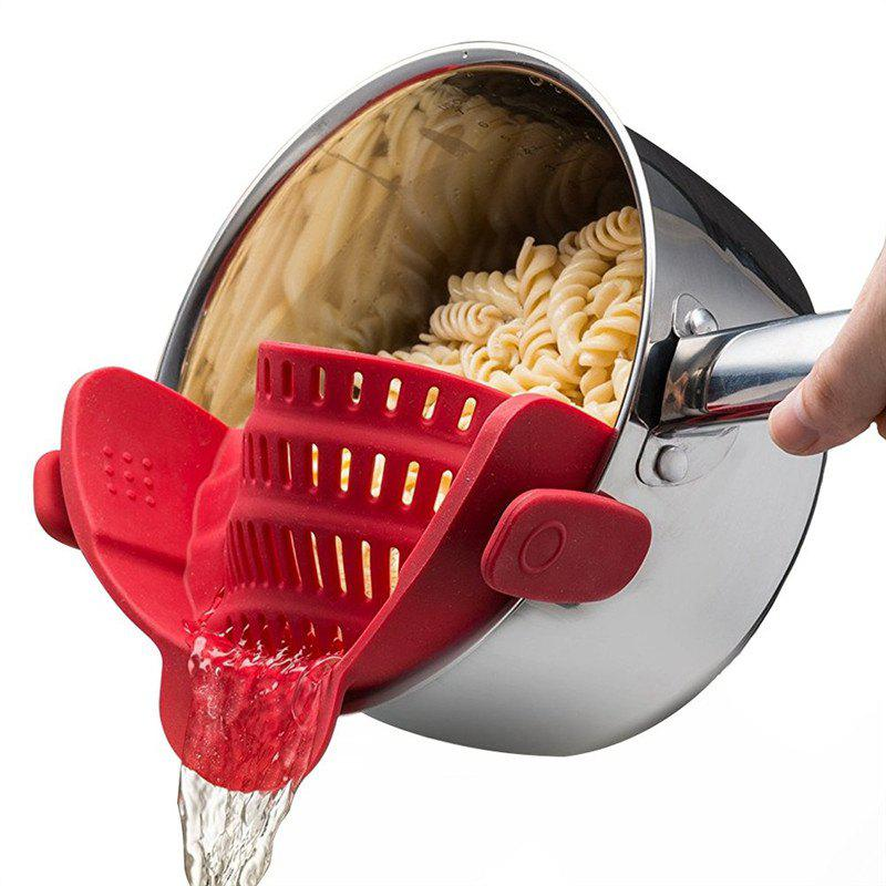 Kitchen Gizmo Snap Strainer Clip On Silicone Colander Fits all Pots and Bowls - RED