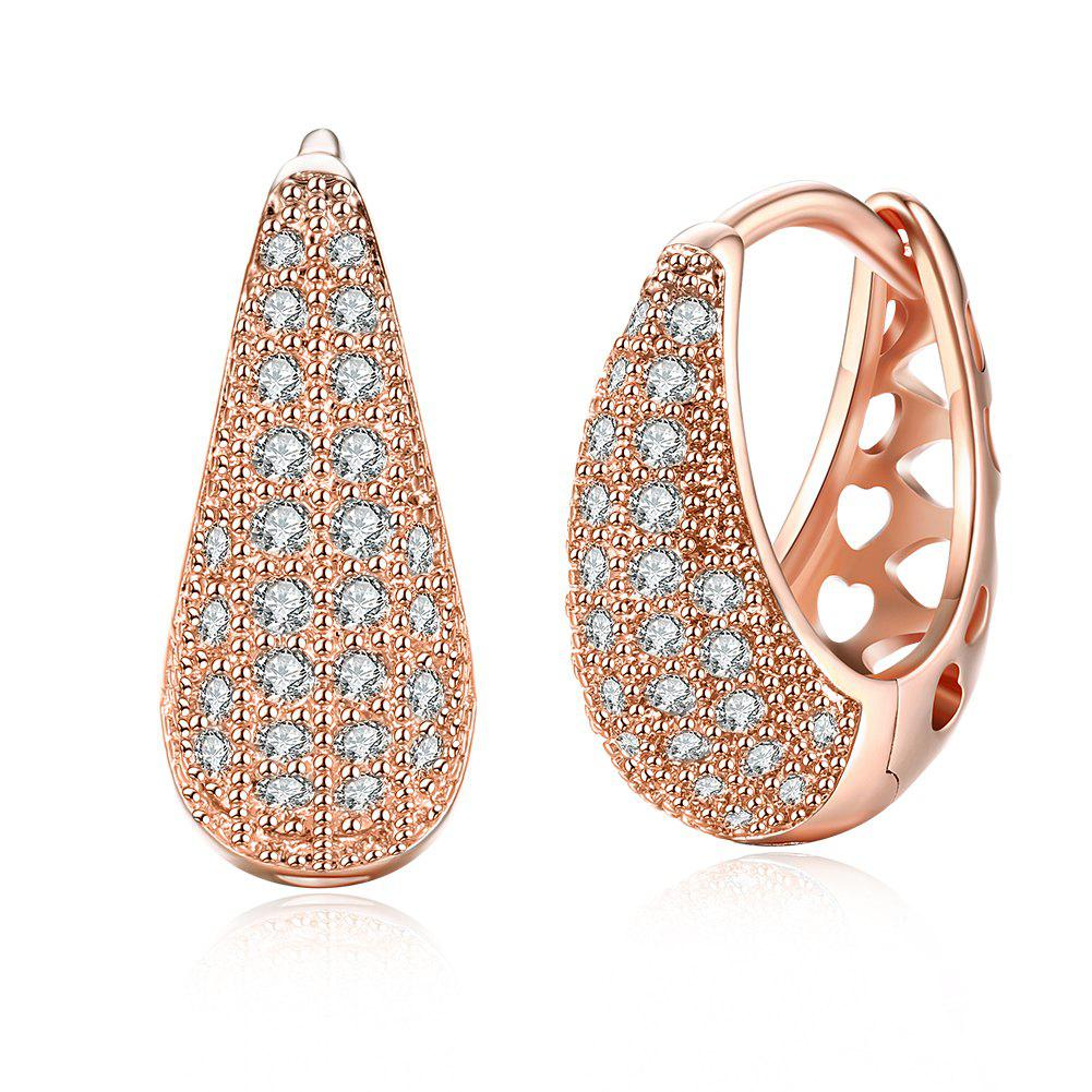 Drop Shaped Set Diamond Romantic Style Earring Clip - ROSE GOLD