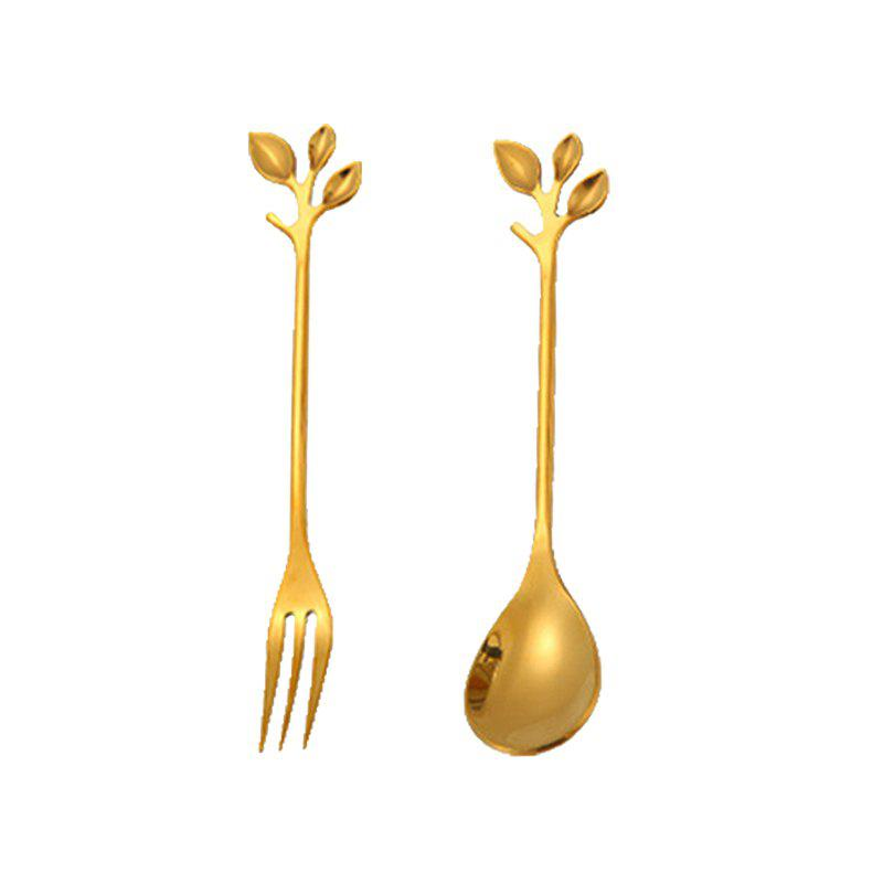 Wedding Door Gift Creative Leave Handle Coffee Spoon and Fork Set - GOLD 1 PAIR