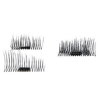 4pcs 3D Magnetic False Eyelashes Natural Soft Makeup Reusable Magnet Extension - BLACK B
