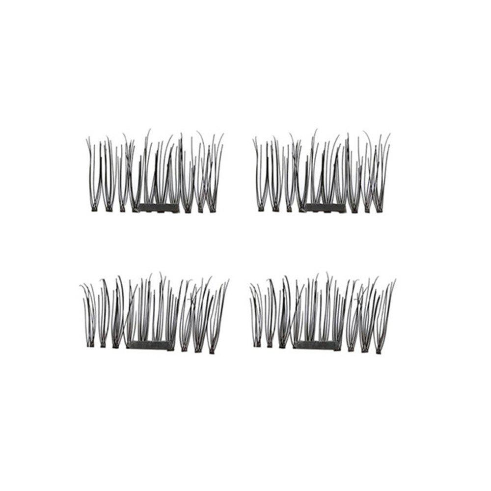 4pcs 3D Magnetic False Eyelashes Natural Soft Makeup Reusable Magnet Extension - BLACK