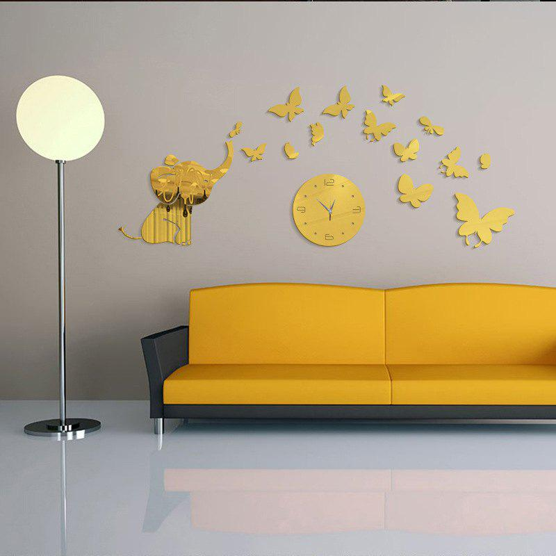 2018 DIY Elephant Butterfly Acrylic Mirror Wall Clock Stickers Home ...