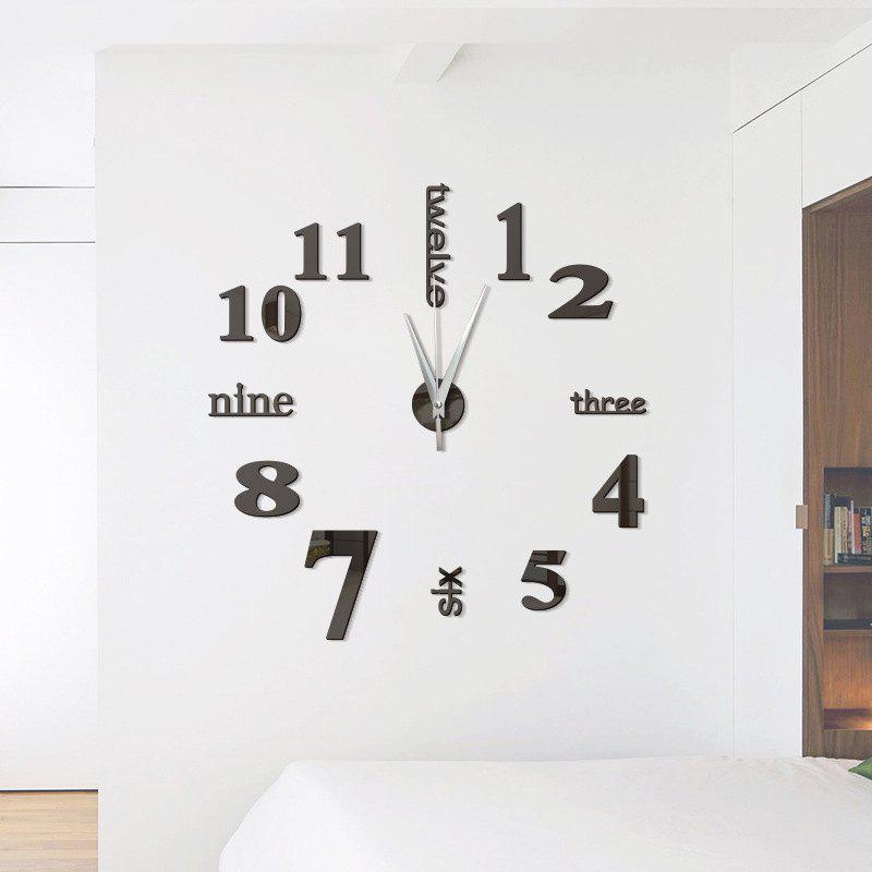DIY Digit Acrylic Mirror Wall Clock Stickers Home Decor squares luxury wall art diy clock mirror stickers for home decoration silver