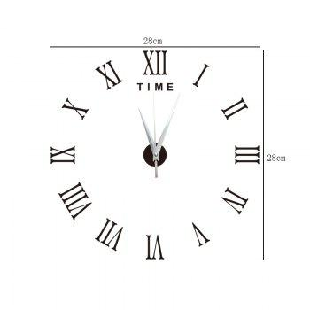 DIY Roman Numerals Acrylic Mirror Wall Clock Stickers Home Decor - BLACK