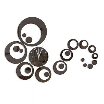 DIY Circle Acrylic Mirror Wall Clock Stickers Home Decor - BLACK