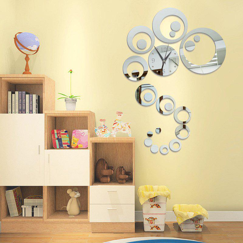 DIY Circle Acrylic Mirror Wall Clock Stickers Home Decor - SILVER