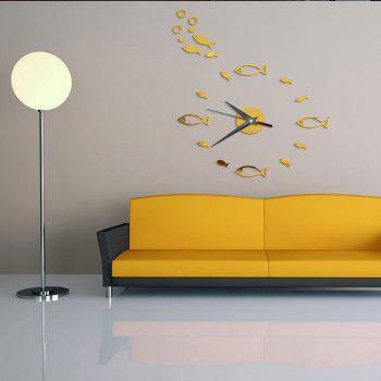 DIY Cartoon  Fish Acrylic Mirror Wall Clock Stickers Home Decor - GOLDEN