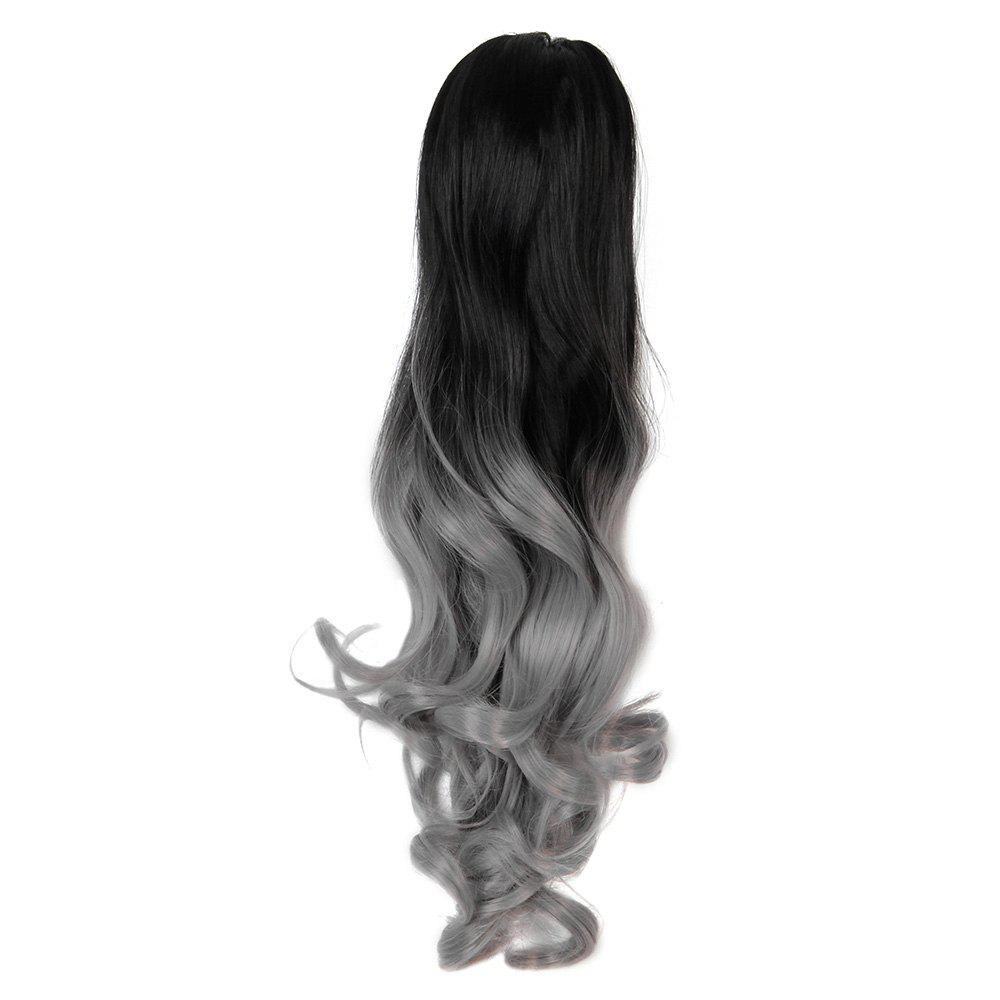 TODO 20 inch Ombre Claw 7-piece 16-clip Synthetic Hair Extensions - GREY/BLACK 20INCH