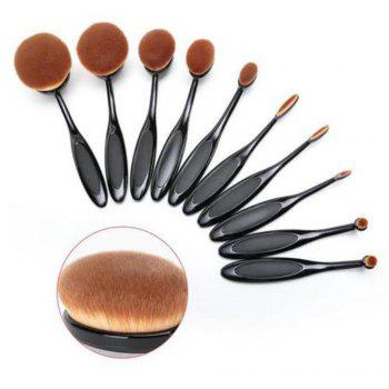 TODO 10pcs All in One Professional Oval Makeup Brushses -  BLACK COLOR