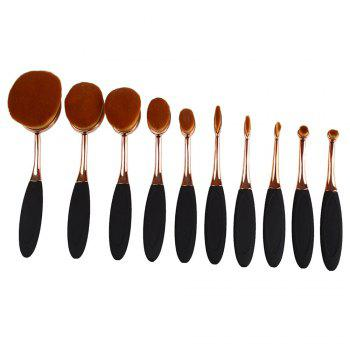 TODO 10pcs All in One Professional Oval Makeup Brushses - GOLD GOLD