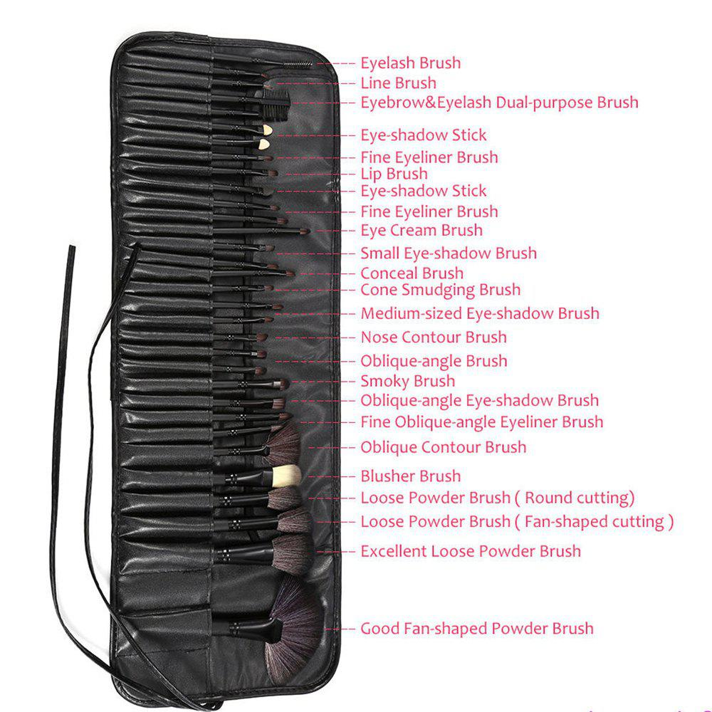 TODO 32pcs Professional Makeup Brushes with Carry Case - BLACK COLOR