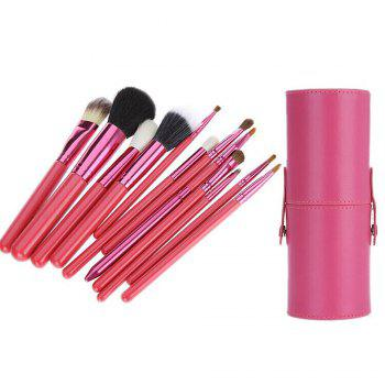 TODO 12pcs Makeup Brushes Cosmetic Tool avec étui porte-gobelet - rose
