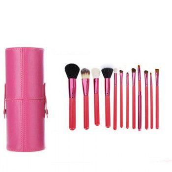 TODO 12pcs Makeup Brushes Cosmetic Tool with Cup Holder Case - ROSE RED ROSE RED