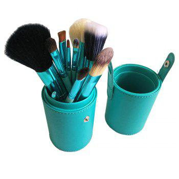 TODO 12pcs Makeup Brushes Cosmetic Tool with Cup Holder Case - GREEN