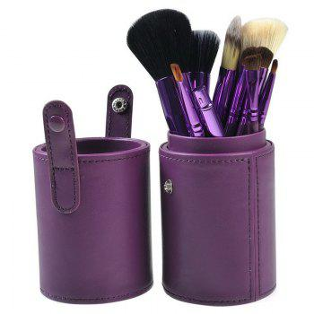 TODO 12pcs Makeup Brushes Cosmetic Tool with Cup Holder Case - PURPLE