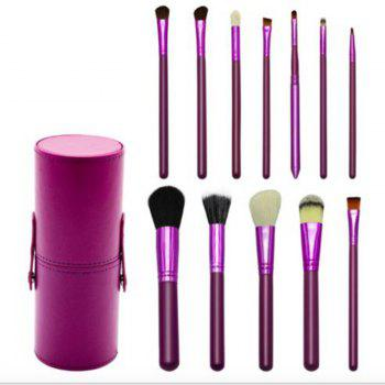 TODO 12pcs Makeup Brushes Cosmetic Tool with Cup Holder Case - PURPLE PURPLE
