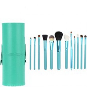 TODO 12pcs Makeup Brushes Cosmetic Tool with Cup Holder Case - GREEN GREEN