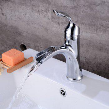 Contemporary Deck Mount One Single Handle Square Bath Mixer Taps Widespread Waterfall Bathroom Sink Faucet Chrome Lavatory Bathtub -  SILVER
