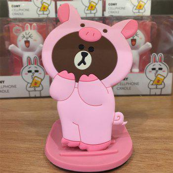 3D Cartoon Silicone Dinosaur Bear Pig Portable Travel Cosmetic Makeup Mirror -  PINK