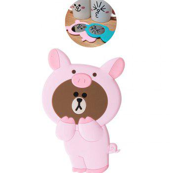 3D Cartoon Silicone Dinosaur Bear Pig Portable Travel Cosmetic Makeup Mirror - PINK PINK